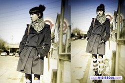 Elena Braun - American Apparel Scarf, Burberry Darkblue Trench, H&M Striped Tights, Dr. Martens Black Dms - London Busstop