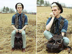 Robbie Jonsson - Grandgradgrad Dads Hat, Dressman Shirt, Second Hand Vest, Crocker Jeans, Grandma's Old Leather Backpack, Scorett Boots - Peasant