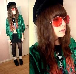 Ronja B - American Apparel Frill Socks, Demonia Creepers, Charity Shop Odd 70's Kimono Thingy, Ebay John Lennon Hat, Huge Round Pink Glasses, Had It Since I Was Little 90's Choker, Had It Since I Was Little Japanese Sign Necklace, Random Punk Shop Beatles Tee - ♻ Let's dance to Joy Division