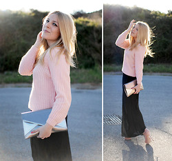 Cris M. - Sheinside Sweater, Stradivarius Clutch, Q2 Skirt, Zara Sandals - Spring and Pale Pink