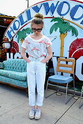 Erin Walsh - American Apparel High Waisted Jeans - Flamingos in Hollywood