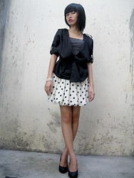 Joy Wilgin O. - Suki Black Pumps, Arf Polka Skirt Baloon, Sm Dept Store Blazer, Polka Top - Polka Thursday