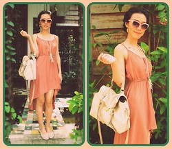 K'im Possible - H&M Sunglasses, Cotton Up Peachy Dress, White Lace Flat - Peachy Day