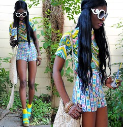VintageVirgin Jessica - Vintage Neon Chevron Floral Top, Vintage Neon Floral Stripe Shorties, Vintage Crochet Fringe Bag, Prada Romwe Faux Sunnies, Love We Colors Neon Socks, Aqua Platfrom Wedges - California Dreamin' of Coachella
