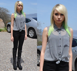 Mollie Paige - Forever 21 Striped Button Up, Skinny Jeams, Jeffrey Campbell Stevie Hi Boots - Beetlejuice