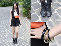 Sophie Ramos - Melty Kiss Top, That Quaint Store Bracelets - Pop of Tangerine