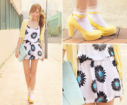 Dotthy Wong - Motel Daisy Print Playsuit, Uniqlo Cardigan, Accessorizes Clutch Bag, Heather Shoes - Sunny Morning Lemon Muffins ♥ ( & Giveaway on my blog)