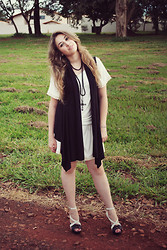 Bruna Treme - Made By My Mom Dress, Made By My Mom Black Vest, Renner Cross Necklace, Schutz Shoes - .