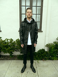 Dylan C - ??? Rain Coat, H&M White Button Up, Cheap Monday Black Jeans, ??? Black Boots - BREATHE SOMETHING/STELLAR STAR