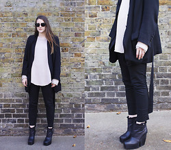 Charlie M - Ann Demeulemeester Layer Blazer, Acne Studios Skinny Trouser, Stylein Knit, Acne Studios Timber Boots, Miu Vintage Looking Shades - STONEWASH
