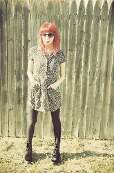Dani Tauber - Shades, Thrifted Polka Dot Dress, Target Leggings, Dr. Martens Velvet Docs - Dani Longlegs