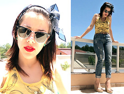 F Esther - Ray Ban Clubmaster Sunnies, Authoria Banana Tank Top, Vintage Jeans, Ferrucci Espadrilles Wedge - SO WHAT DIFFERENCE DOES IT MAKE?