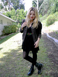 Allysa Stone - American Apparel Black Corduroy Jacket, Thrifted Rose Belt, Black Lace Dress, Dr. Martens - You always take the sweetest rose and crush it..