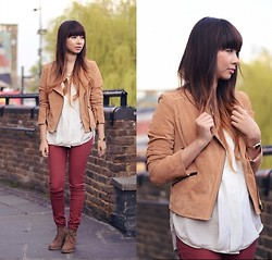 Van Anh L. - Bershka Suede Jacket, H&M Blouse, New Look Burgundy Jeans, Bianco Wedges - Rain and sunshine together