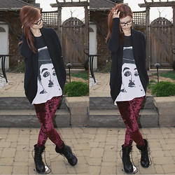 Rebecca K - Velvet Leggings, Charlie Chaplin Shirt, Wilfred Cardigan - Raspberry dreams