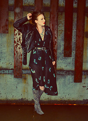 Amelia A - Wilson's Leather Motorcycle Jacket, Bar Ii Sheer Kimono, Guess? Diy Cut Off Shorts, Tunnel Vision Snakeskin Beaut Boots, Ebay Kuchi Necklace - LATE NIGHT LOITER