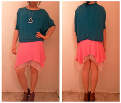 Amy C - Rue 21 Cropped Top W/ Bat Winged Sleeves, A Line Flowy Pink Skirt, Sonoma Brown Lace Up Wedges, Diamond Studded Heart Necklace - Color Blocking