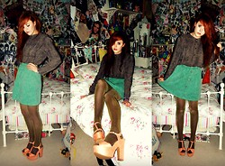 Saskia I - My Mums Shirt, Rokit Skirt, New Look Shoes - Oh, I must confess I am overdressed
