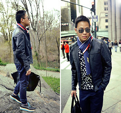 Dennis Robles - Chanel Silver Aviators, Céline Black Phantom, Jkly Black Platform Shoes, Topman Navy Trousers, Maison Martin Margiela Navy Jacket With Leather Trims, Ralph Lauren Striped Scarf, Gift Star Printed Shirt - New york look #362