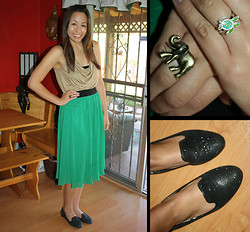 Hannah Meegan - Aldo Sparkly Black Loafers, H&M Tan Flowy Tank, Forever 21 Green High Waisted Skirt, Turtle Farm, Grand Cayman Mood Ring, Gifted Bronze Elephant Ring - Shake It Out