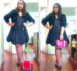 Bey Siongco - Lhasa White Coral Necklace, Vintage Coral Inspire Bracelet, H&M Furred Jacket, Forever 21 Forever21 Black Mini Dress, Genevieve Gozum Red Satchel Bag, Parisan Black Laced Pump - Immaturely sophisticated.