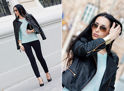 WOWS . - Ray Ban Sunnies, Zara Sweater, Zara Trousers, Zara Biker Jacket, Uterqüe Heels, Stradivarius Arm Cuff, H&M Studded Suede Clutch - MINT + BLACK //GIVEAWAY Jeffrey Campbell Shoes (Apr,20th)!!!