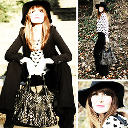 Lola Devils - Dittos Jeans, H&M Blouse, H&M Jacket, H&M Boots, Urban Outfitters Bag, Deena & Ozzy Hat - Walk In The Park – Back In The 70´s