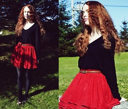 Marina Aurora Thorsen Ødegaard - Red Skirt, Secondhand V Neck Sweater, Shoes - My love is like the roses red
