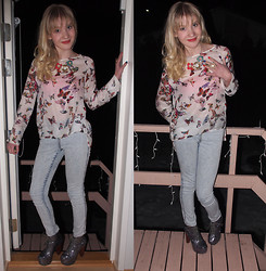 Meri - - Zara Blouse, H&M Jeans, Accessorize Necklace, Accessorize Ring, Jeffrey Cambpell Lita's In Pewter Glitter - Flowers and butterflies, last friday night