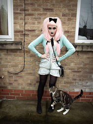 Tanya Townley - Heart Shaped Bag, Bow Ring, Black Tights And Knee High Socks, Next Door's Cat, D.I.Y. Velvet Bow Clip, Ribbons, Asos Sleeveless Cream Tie Shirt, Vintage Mint Cardigan, Primark Black Ballet Pumps, Primark D.I.Y. Satin Mint Playsuit (From A Top) - Matchy Mints