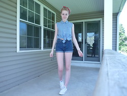 Michaela W - Guess? Dark Denim Cut Off High Waisted Shorts, Converse White, Style To Go Denim Sleeveless Button Up, Thrift Store Red Bandanna - Naive