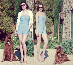 Paulina P. - Silence + Noise White Blazer, A. J. Morgan Cat Eye Sun Glasses, Unknown Baby Blue Romper, Steve Madden Nude Wedges - Primadonna Girls