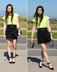 Jessica Wu - Michael's Tee, Mom Shorts, C/O Http://Beginningboutique.Com.Au/ Collar, Stuart Weitzman Shoes, C/O Http://Www.Shopvagabondyouth.Com/ Sunnies, Mom Bag - Neon Love