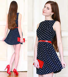 Ariadna Majewska - Armani Exchange Polka Dot Skater Sleeveless Dress, Red Belt, Red Purse, Toria Blanic Red Pumps, Kappahl White Bracelet - Inspired by pin-up style
