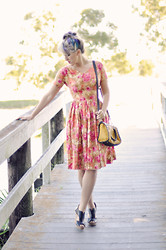 Kimberly Grace . - Seychelles Eye To Eye Wedges, R & Em Bag, Vintage Dress - Fire Kites