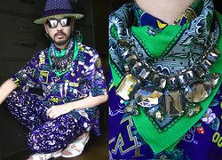 Andre Judd - White Sneaker Sandals, Michigan Button Down Shirt, Purple Knit And Woven Hat Hybrid, Angular Frames With Mirrorized Tint, Handrawn Floral Print Bandana, Multi Crystal Neckpiece, Purple Camo Trousers - The Tourist/ El Turista
