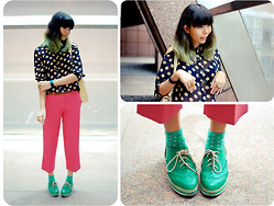 Lenne C. - Polka Dotted Shirt, Marni Pink Pants, Green Brogue Flatforms, H&M Green Polka Dotted Socks - Rabbit Heart