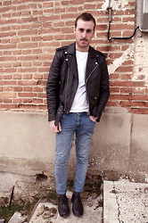 Pete .N - Asos Brogues, Second Hand Leather Jacket, H&M Basic White Tee - ...Blue jeans,White shirt