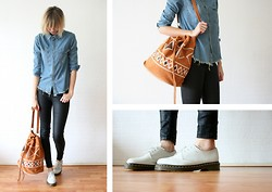 Sietske L - Chic Wish Denim Frayed Shirt, Cos Coated Jeans, Chic Wish Aztec Bag, Dr. Martens Shoes - Frayed.