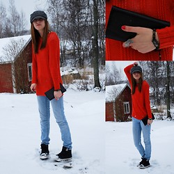 Nadja T - Gift From Grandma Bracelet, Vila Sweater, Crockers Jeans, Converse Sneakers, Moms Cap, Gift From Aunt Purse, Gina Tricot Ring - Snow, Just go Away!