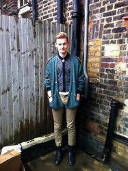 Joe Graham - Vintage Sand Coloured Trousers, Aaa Long Sleeved Sheer Shirt, The Ragged Priest Knitted Cardigan With Spiked Shoulder Pads, Topman White Leather Belt, Dr. Martens Black - Sharp spring comfort.