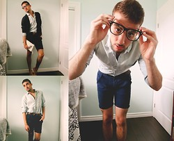 Anthony S. - Vintage Cardigan, Gap Pin Stripe Pale Blue Shirt, American Eagle Braided Leather Belt, Jack And Jones Rolled Slim Short - He was a diplomats son...