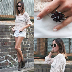 Nina Maya - Topshop Open Weave Knit, Thrifted Denim Cut Offs, Rag & Bone Leather Boots - L.A.N.E  W.A.Y