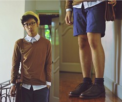 Jehan R. - Saddle Shoes, Pull & Bear Jumper, Button Down, Topman Shorts, Leather Satchel/Briefcase, Straw Fedora, Patterned Socks - Going head to head with the great unknown