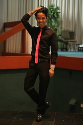 Brigiding Aricheta - Black Slim Fit Longsleeves, Armando Caruso Fuchsia Pink Silk Tie, Hitchcock Black Leather Belt, Black Slacks, Pointed Black Leather Shoes - FUCHSIA  FIERCE