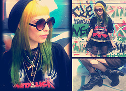 Vera G. - Tash And Cody Original Tee, Wasteland Black Mesh Top, Vintage All Necklaces, Painted Bird Leather Boots - I'll Never Give UP