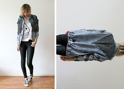 Sietske L - Romwe Denim Jacket, Cheap Monday Printed Tee, Cos Coated Jeans - Let's do it.