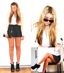 Mollie C. - Zara Shirt, Primark Leather Pleated Skirt, Miss Selfridge Clutch, Miss Selfridge Boots - White magic