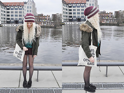 Charlie M. - Only Beanie, Urban Outfitters Aztec Shirt, Underground Creepers, Urban Outfitters High Waist Shorts, Stylight Tote Bag, Zara Parka - The worst things in life come free to us