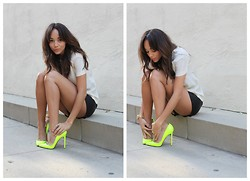 Ashley M - Christian Louboutin Shoes, Twenty Cluny Shorts, Tory Burch Blouse - Neon